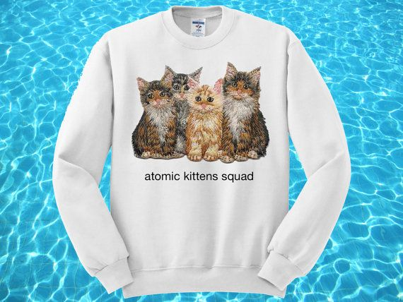 Atomic Kittens Squad  White Grey or Pink Sweatshirt  by ROUKEYS