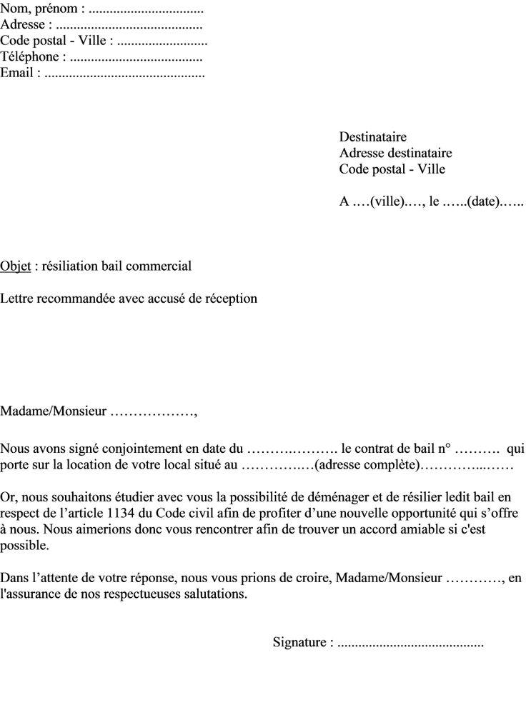 Mod le de lettre locataire pour r silier bail commercial for Bail pour location maison