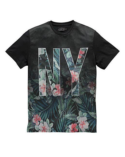 Label J NY Floral Fade T-Shirt Long | Jacamo - that should be mine!