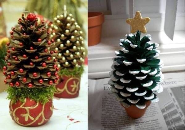 DIY Pine Cone Christmas Tree --- (Make sure that the pine cone has been indoors for a good while, before painting/decorating it. When I painted one for my dollhouse, years ago, it wasn't fully open yet, so when it opened up more, it didn't look as good anymore..) #miniature #craft