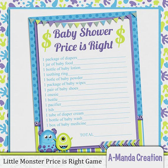 Little monster printable price is right baby shower game for Free printable price is right baby shower game template