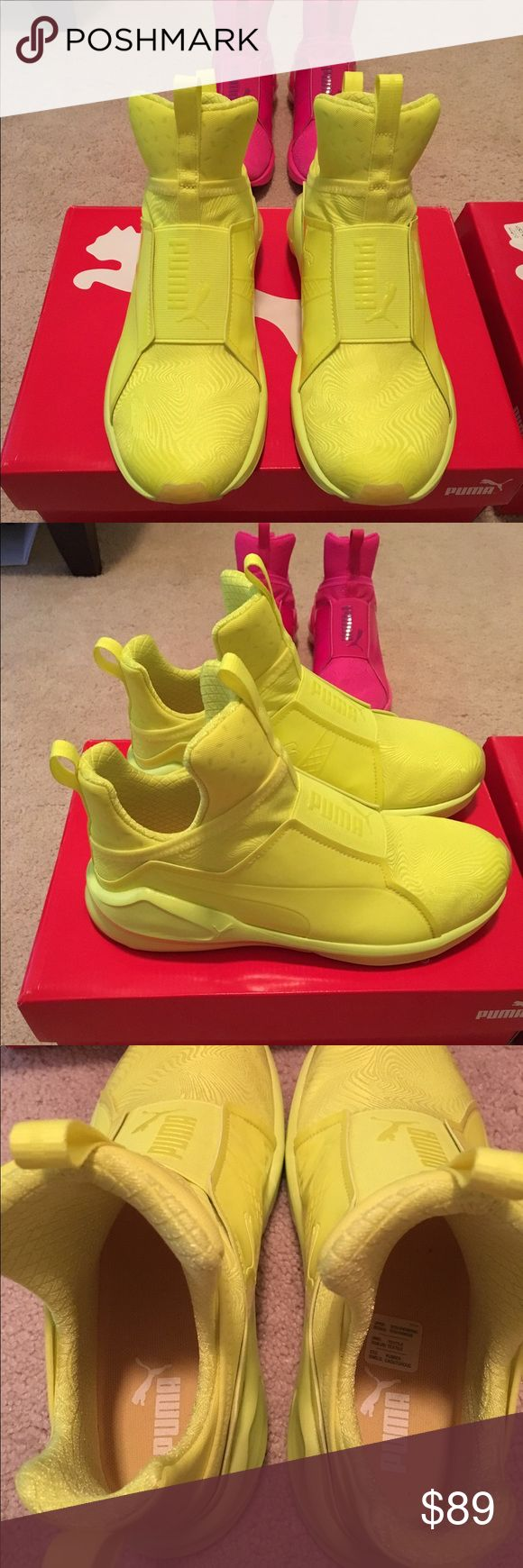 Kylie Jenner fierce bright yellow neon sneaker Been worn only few time in great condition . Fit true size with out socks. Very cute and comfy and light weight. Puma Shoes Sneakers