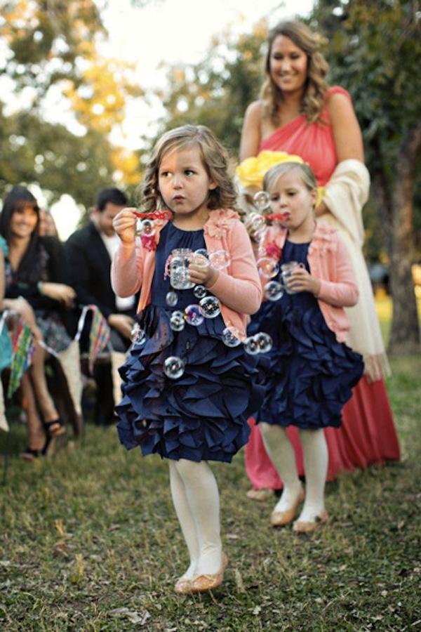 Flower Girls blow bubbles down aisle?