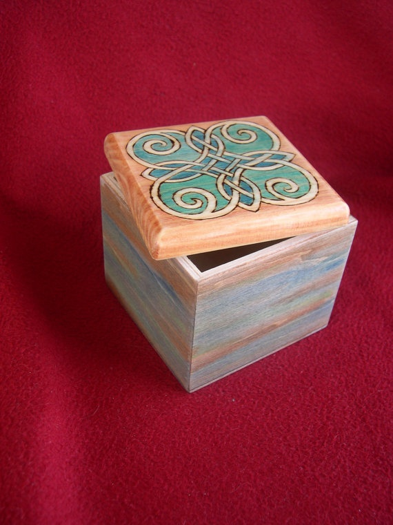 Celtic Knot Square Pyrography Decorated Wood Box by FireOakStudio, $30.00