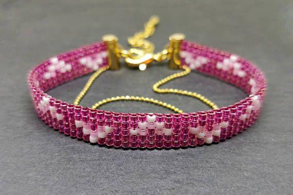 Raspberrie pink color loomed bracelet/ Pink baby shower