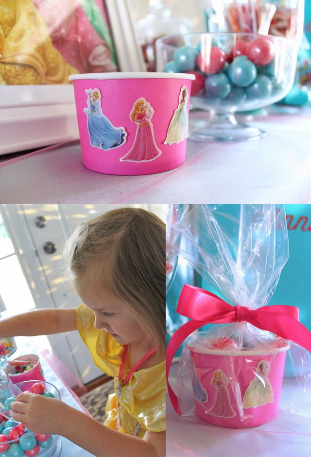 """make your own party favorI set up a """"sweet treat"""" table where the girls were able to create their own party favors. Earlier during the party, each girl decorated her own candy cup with princess stickers. When the parents arrived, the girls filled up their cups with as much candy as their little hearts desired! Then I tied them up and added them to their party bags. The candy bar was a BIG hit!"""