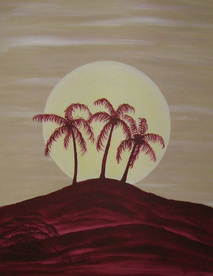 Acrylic Painting Of Palm Trees