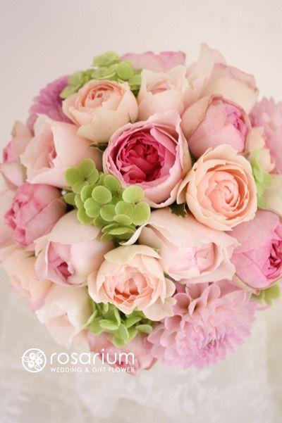 バラ(イヴ・ミオラ、ピンク・イヴ・ピアッチェ)  スプレーバラ(M・ヴィンテージピンク)  ダリア(オズの魔法使い)  アジサイ(グリーン・アナベル)  ロザブロ  ウェディングとギフトのお花とワタシ-rosarium