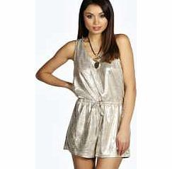 boohoo Metallic Playsuit - silver azz12839 Add attitude to animal print with this metallic playsuit ! We love wearing it with barely-there heels , a fluffy clutch bag and dramatic lip . http://www.comparestoreprices.co.uk/womens-clothes/boohoo-metallic-playsuit--silver-azz12839.asp