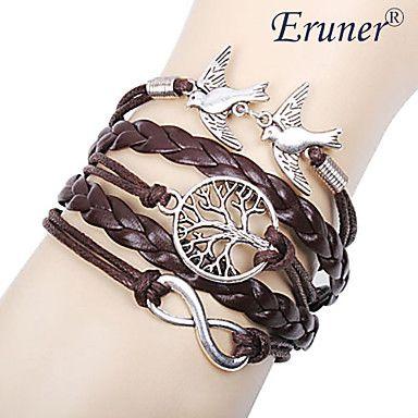 [Xmassale] eruner® árbol de aleación de múltiples capas pájaros del amor de la mujer la vida y el infinito hecho a mano pulsera de cuero - EUR € 1.43