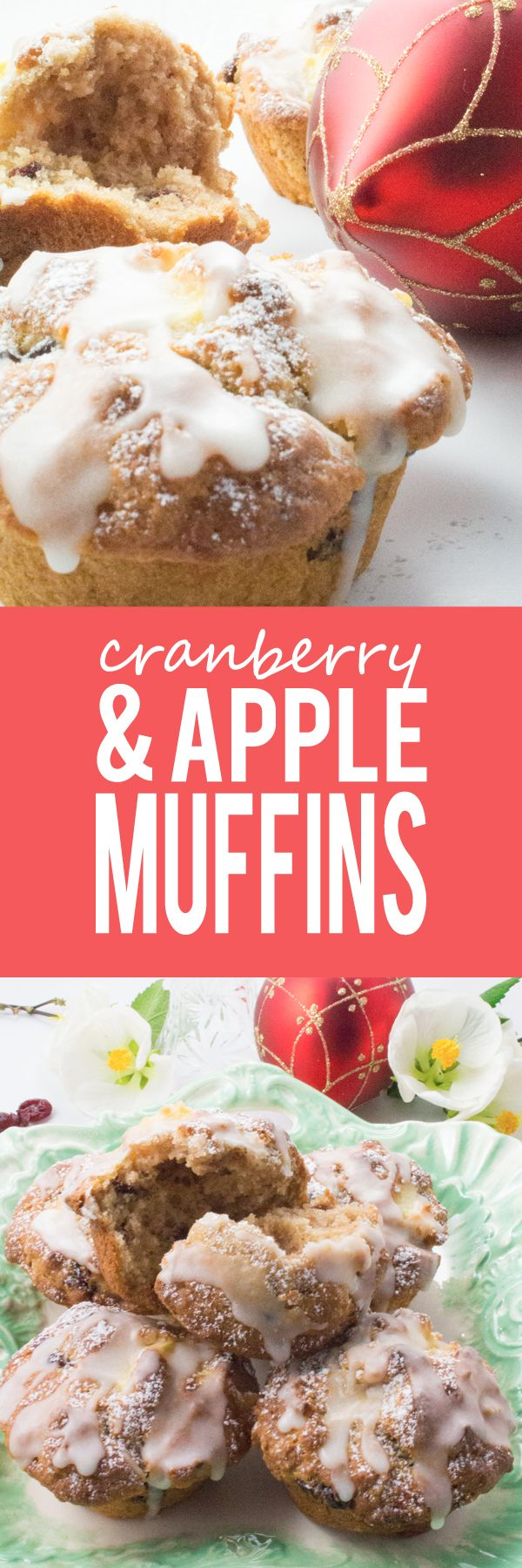 Cranberry and Apple Muffins - Packed full of apple chunks and bursting with dried cranberries in every bite, you are going to love these healthy Christmas flavored muffins! SOOOO GOOD!!