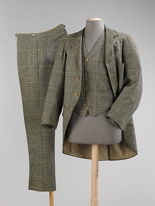 Wool plaid morning suit, by J.B. Johnstone, British, 1894. Morning suits were originally adopted in the early-19th C. and gained popularity near the end of the century for morning and daytime business activities in addition to riding (later used for daytime formal occasions). They consisted of either a matching ensemble (a single-breasted cutaway coat, vest and trousers), or a black single-breasted cutaway coat paired with striped trousers and a complementary vest.