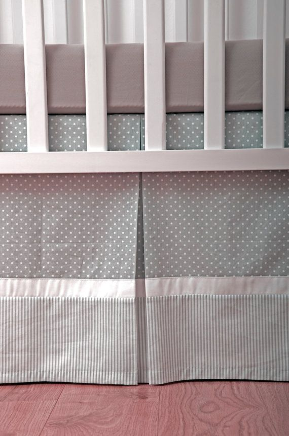 Custom Crib Skirt / Dust Ruffle fully lined with Gray and White polka dot and Stripes on Etsy, $90.00