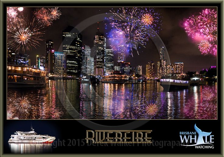 Brisbane city's annual Riverfire, viewed from onboard the Eye Spy of Brisbane Whale Watching on the Brisbane River, in Queensland, Australia.  For image licensing enquiries, please feel welcome to contact me at derekwalker73@bigpond.com  Cheers :)