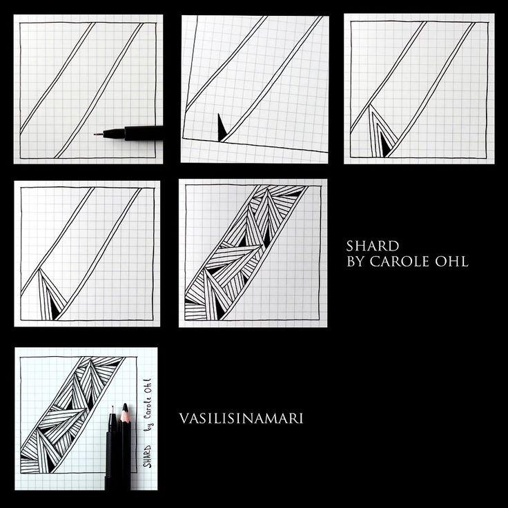 "VASILISINAMARI zentangle tutorial pattern ""SHARD"""