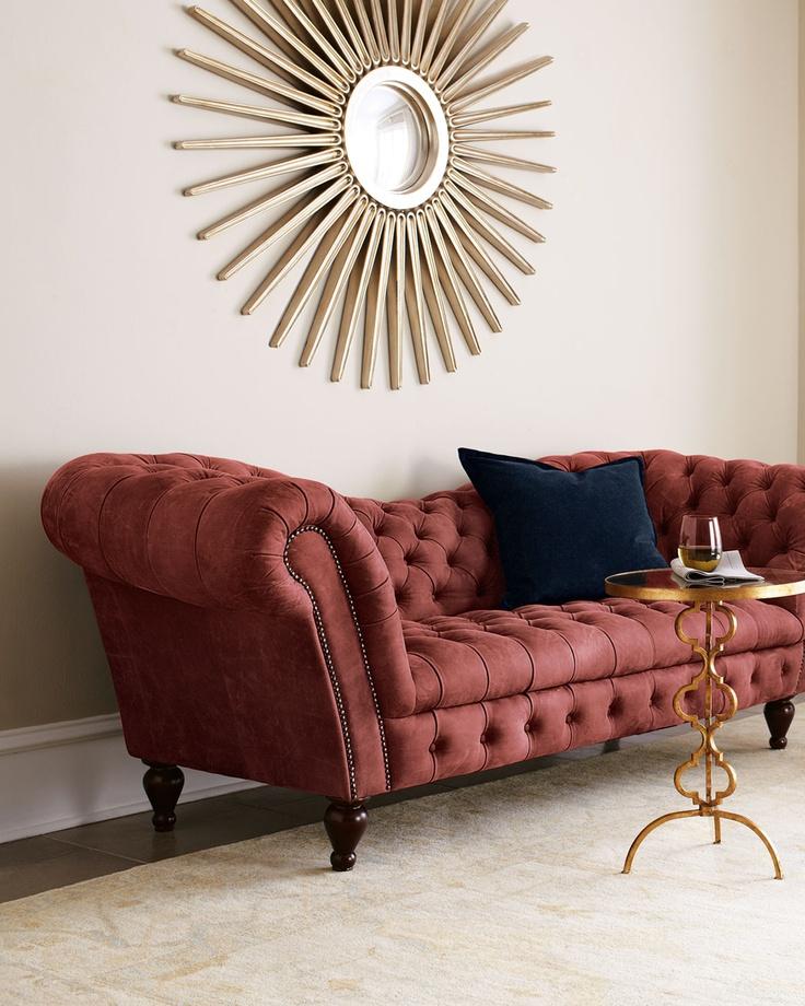 berry leather recamier sofa horchow interior design. Black Bedroom Furniture Sets. Home Design Ideas