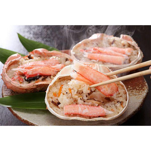 もち米に紅ズワイガニ、つぶ貝は北海道産を使用。【北海道 蟹おこわ詰合せ】