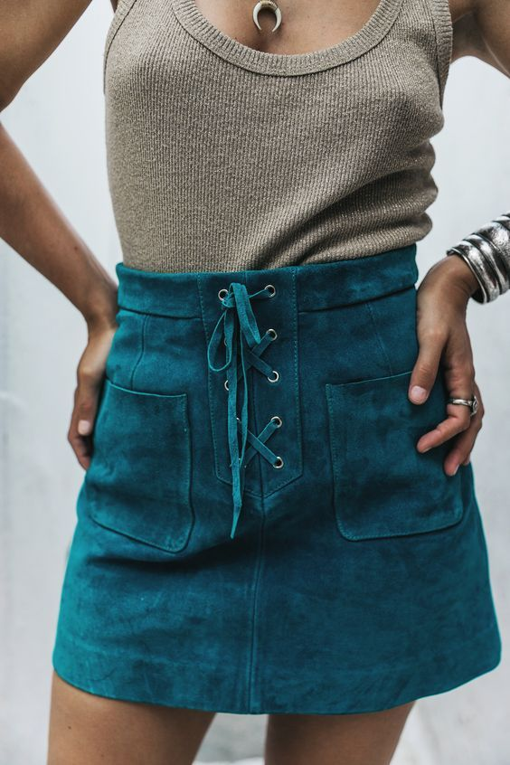 Teal suede lace up mini skirt http://fancytemplestore.com