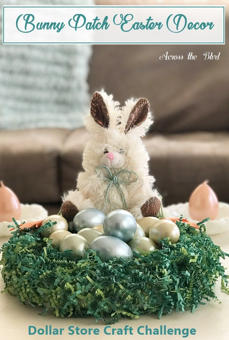 Bunny Patch for Easter ~ Dollar Store Craft Challenge - Across the Boulevard