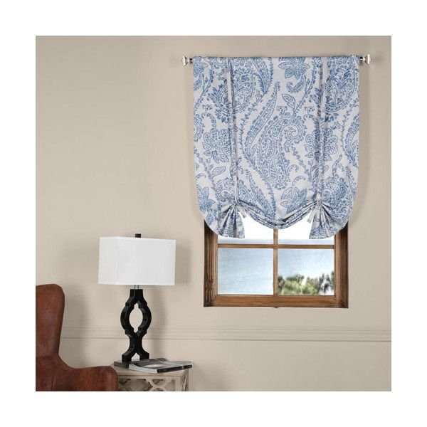 Half Price Drapes Tea Time China Blue 42 x 63-Inch Blackout Tie-up... ($18) ❤ liked on Polyvore featuring home, home decor, window treatments, window blinds, thermal window panel, window shades, blackout window shades, blue shades and tie up shades