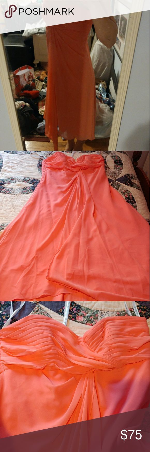 Salmon Bridesmaid's dress This is a beautiful dress from David's Bridal. It was worn once to a high school prom but has no staining or flaws. Flowy and strapless.  There is no size on the dress. It fits like a large/extra large. I am happy to take measurments for those who inquire. David's Bridal Dresses Strapless