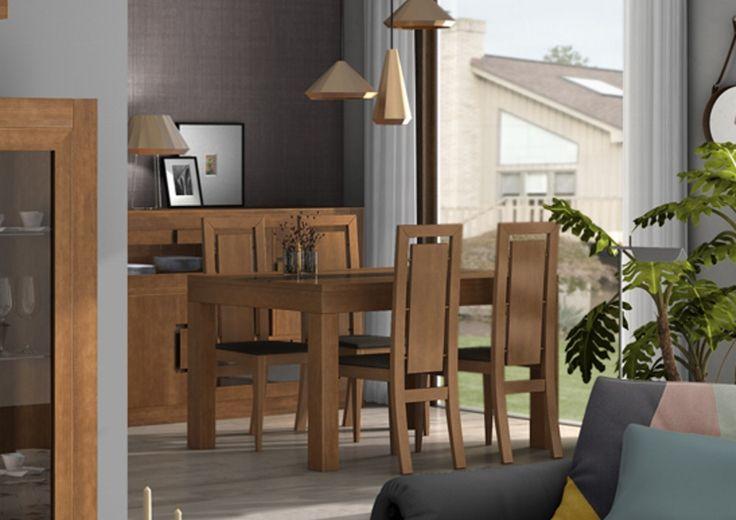 Muebles Brezo Mesa de comedor y sillas, madera maciza.  pvp: 1.338€   20% descuento http://muebles-arevalo.es/ #Muebles #Salón  #muebles_salon #muebles #precio #muebles_madrid #tienda_muebles#madrid #madera