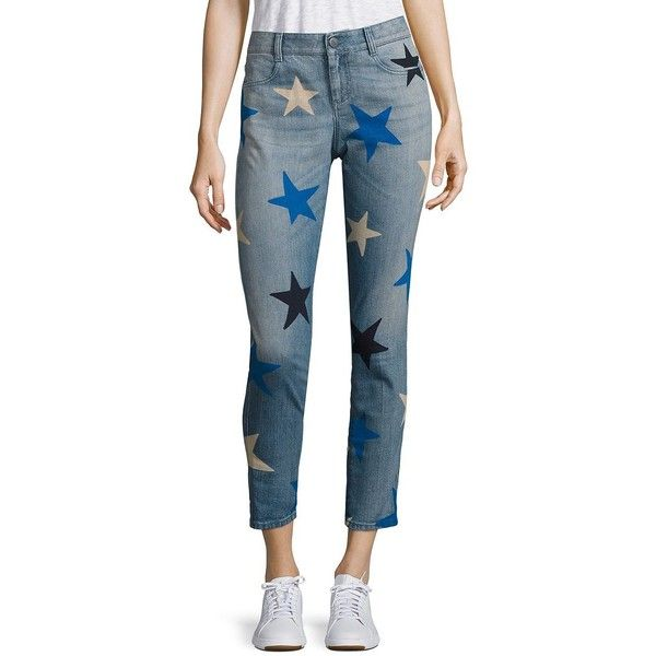 Stella McCartney Women's Star-Print Skinny Ankle Grazer Jeans - Blue (¥59,210) ❤ liked on Polyvore featuring jeans, apparel & accessories, blue, blue star jeans, star jeans, big-star skinny jeans, zipper skinny jeans and star print jeans