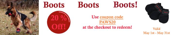 20% off boots for the month of may @ http://handicappedpetscanada.com/dog-boots/