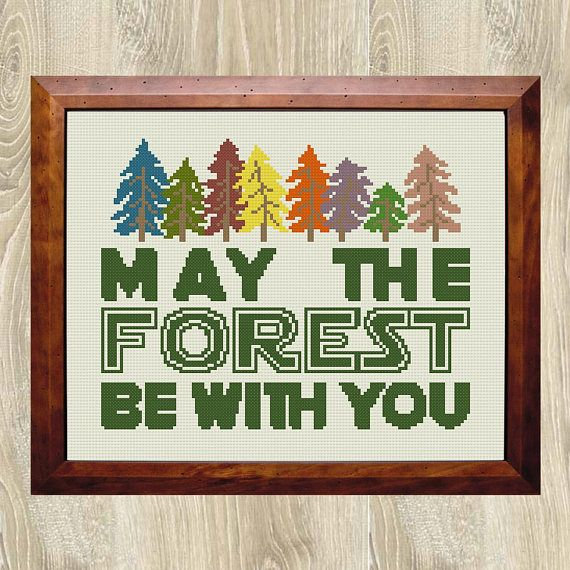 MAY THE FOREST BE WITH YOU - environmentally themed cross stitch pattern by EarthToStitchers.