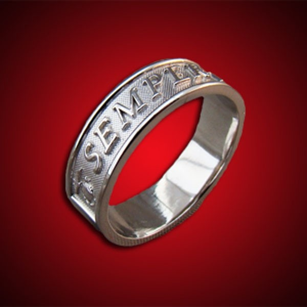 Women's Claddagh, Semper Fidelis Sterling Wedding Band | Sgt Grit - Marine Corps Store