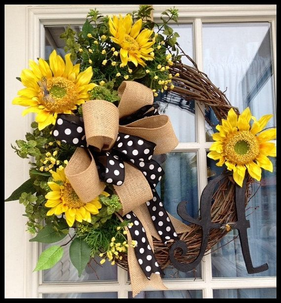 sunflowers and polka dots monogrammed wreath  personalized summer wreath spring wreath door