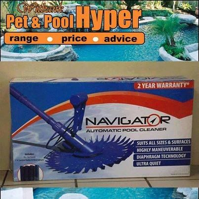 Great specials from Pet & Pool Hyper Witbank: #Navigator Automatic pool cleaner only for R549 includes hoses! Don't miss out on these great savings. Speak to the #professional pool team at Pet Pool Hyper for more information. #poolcleaner