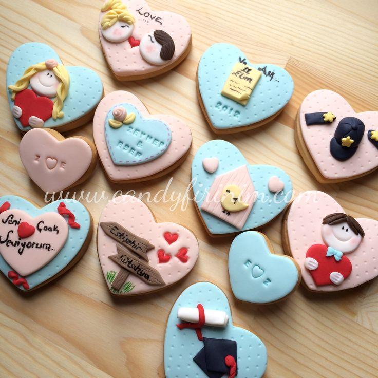 Fondant love cookies   #butikkurabiye #hikayelikurabiye #sekerhamuru #lovecookies #cookie #fondantcookie #sugarart