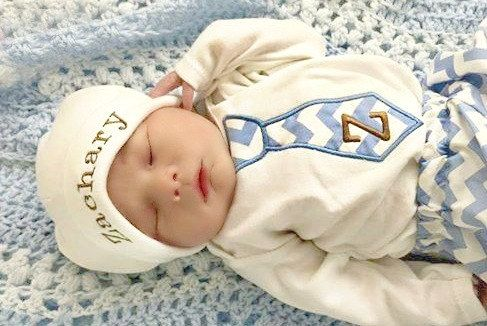 Newborn Baby Boy Clothes Monogram  Boy Tie Personalized Hat  and Pants Options Chevron Outfit Baby Boy Take Home Outfit Coming Home outfit