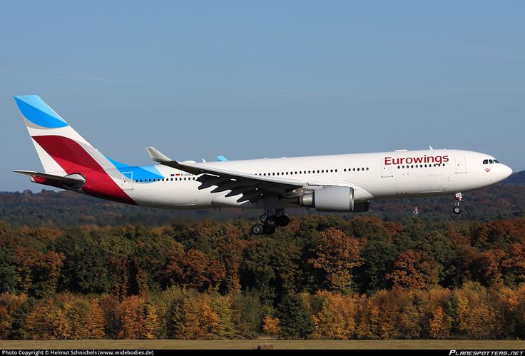 Eurowings Airbus A330-203 D-AXGA aircraft, on short finals to Germany Cologne Bonn International Airport. 31/10/2016.