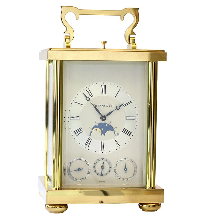 Tiffany & Co Triple Date Calendar Moonphase Carriage Clock