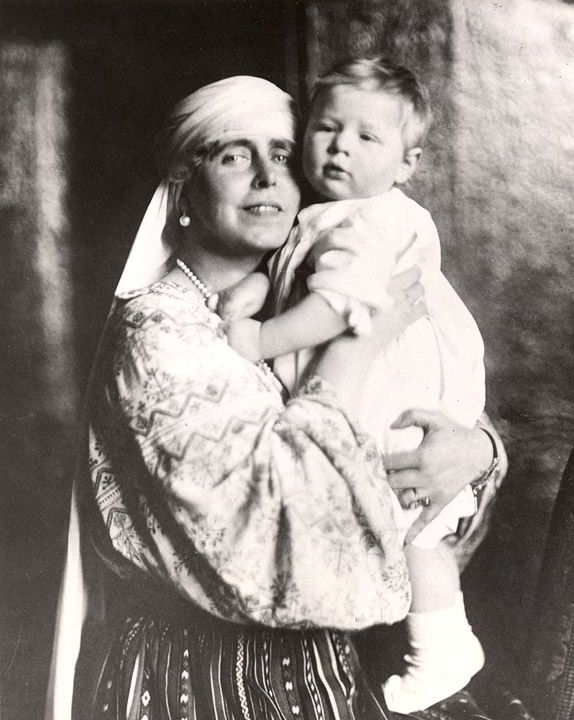 Prince (later King) Michael of Romania with his paternal grandmother, Queen Marie.