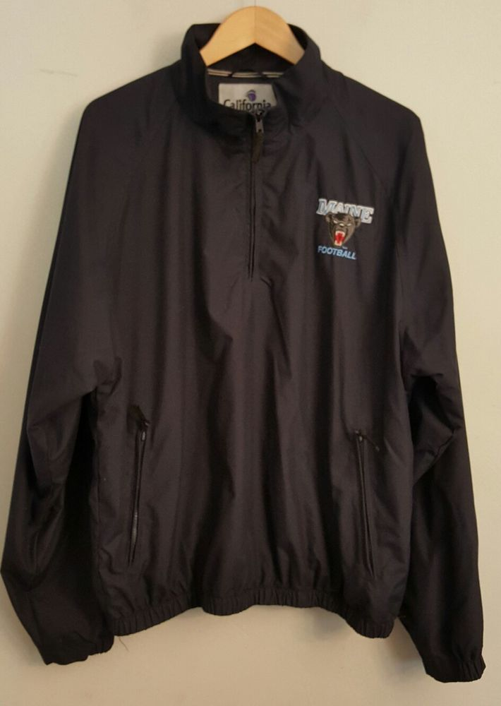 Normal wear, no visible flaws noted<br/><br/>Men's California Outerwear Maine Black Bears Football quarter zip collared pullover jacket. | eBay!
