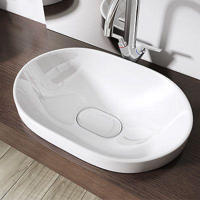 Keramik Waschschale Aufsatz Wandmontage Waschbecken Waschtisch 58x40 cm BL5006A