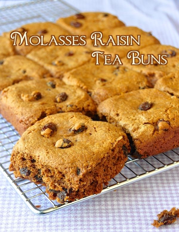 "Molasses Raisin Tea Buns ~ combine AP flour, sugar, baking powder and baking soda, cinnamon, nutmeg; cut in butter; stir in raisins; add molasses, milk and vanilla extract and mix to form a dough; roll to 1"" thick, cut buns and place in baking pan; bake until done, cool slightly and serve warm or store until serving time, enjoy!"