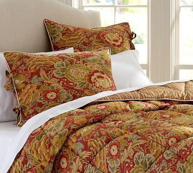 Helena Reversible Comforter - Red #potterybarn I love this!!