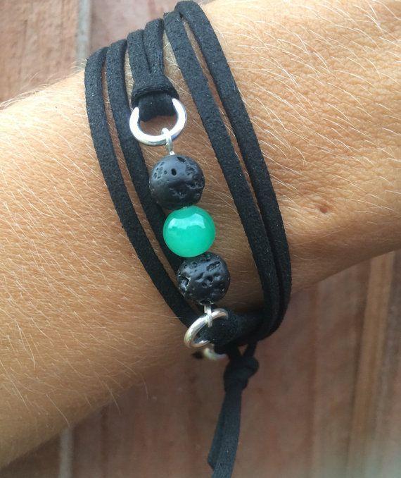 Lava Bead Essential Oil Diffuser Bracelet | Vegan Wrap Diffuser Bracelet | Faux Suede Wrap Bracelet | Green Glass Bead