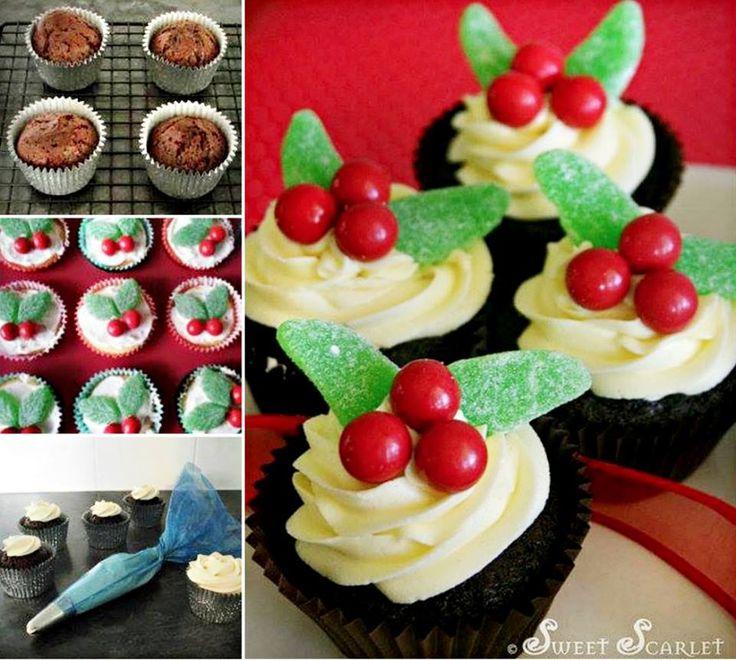 Chocolate Pudding Christmas Cupcakes