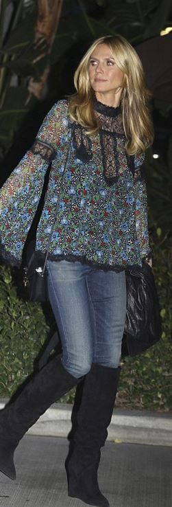 Who made Heidi Klum's blue floral print shirt?