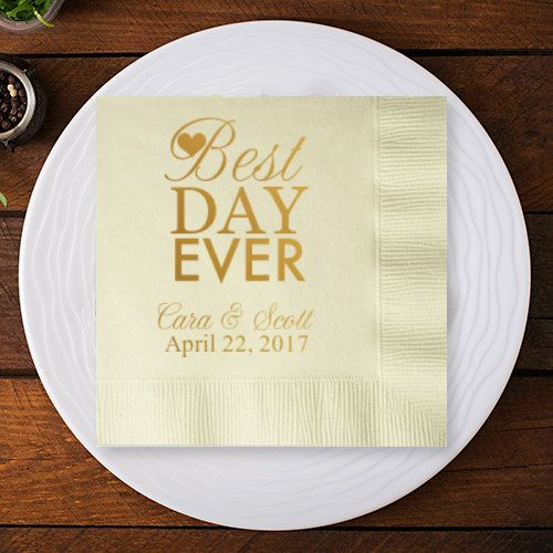 100 pcs Best Day Ever Personalized Cocktail Napkins by MicAndCo