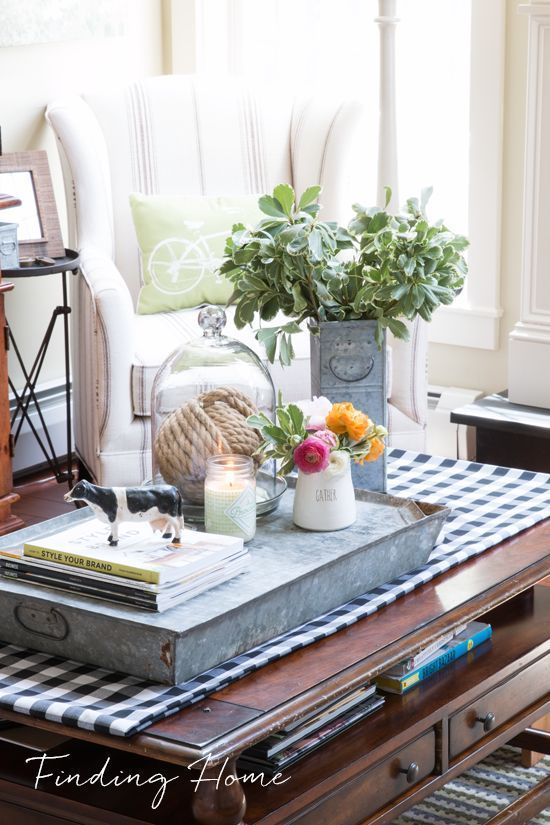 Welcome Spring With A Beautiful Buffalo Plaid Table Runner On A Coffee  Table, Fresh Flowers