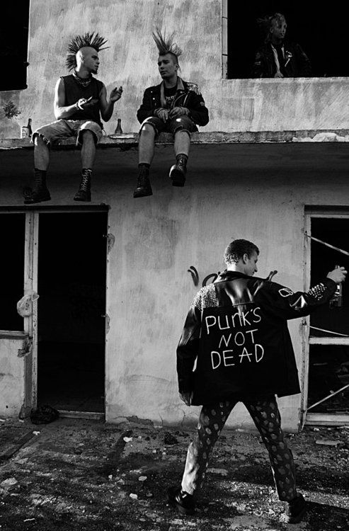 Punks drinking on the roof, punk's not dead