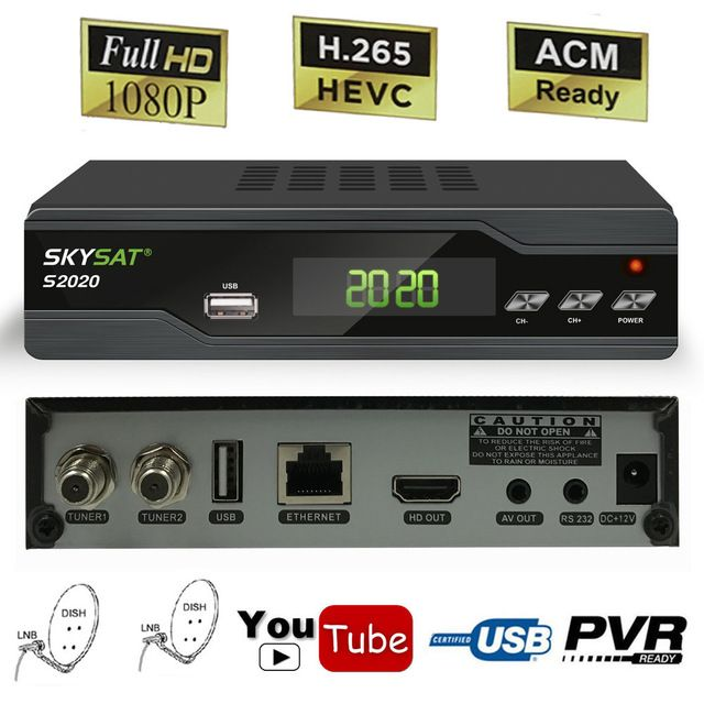 Skysat S2020 Dual Dish Tuner Dvb S2 H 265 Digital Satellite Receiver Most Stable South America Server Receptor Iks C Satellite Receiver Satellites Satellite Tv