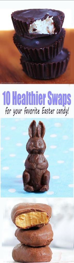Includes healthier alternatives to Hershey's marshmallow eggs, Russell Stover chocolates, Peeps, Reeses, Cadbury Cremes, and many more healthy ways to satisfy all of your Easter candy cravings: http://chocolatecoveredkatie.com/2015/03/30/10-healthier-swaps-for-all-your-favorite-easter-candy/