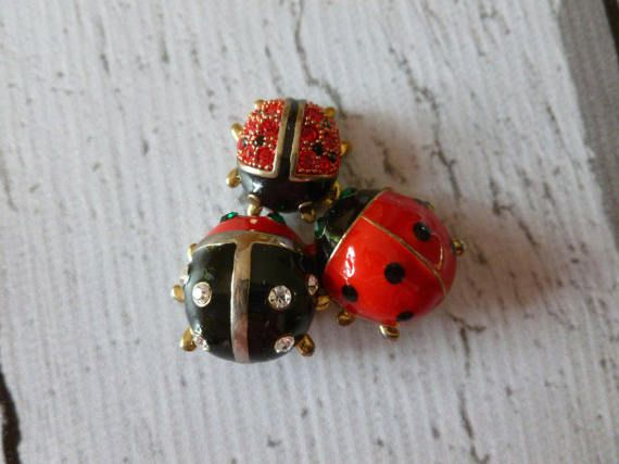 Vintage LadyBird or LadyBug Red and Black Enamel Brooch Gift